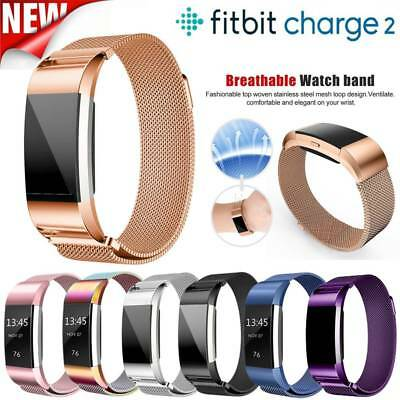 Metal Magnetic Milanese Stainless Steel Watchband Strap For Fitbit Charge 2 New