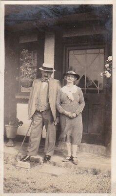 Old Photo People Man Straw Boater Woman Dress Hat