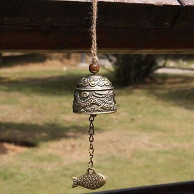 Chinese Dragon/Fish Feng Shui Bell Blessing Good Lucky Garden Hanging Wind Chime