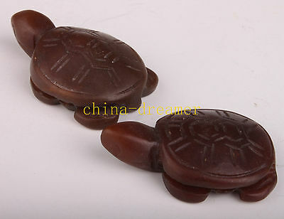 2 China Agate Carving Figurine Statue Turtle Netsuke Pendant Collectable