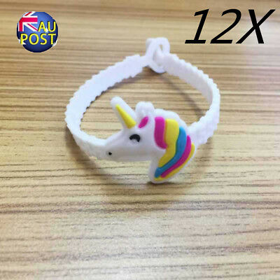 12Pcs Unicorn Bracelet Soft Band Wristband Birthday Party Favor Kid Gift Sal MN