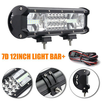 7D Tri-row 12inch 324W Combo LED Work Light Bar  Offroad ATV + Wiring Kit 8100LM
