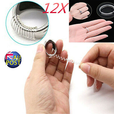 Ring size reducers Spiral Invisible Snugs Guard RESIZER ADJUSTERS TOOLS 12PCS MN