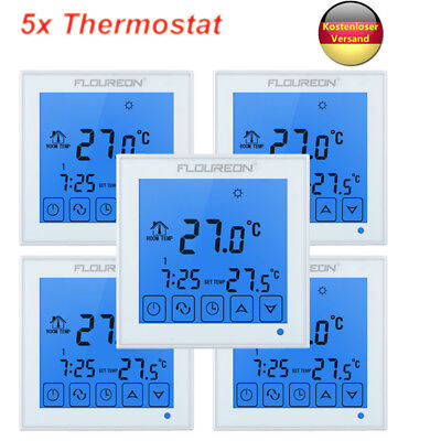 5 tlg digital thermostat raumtemperaturregler fu bodenheizung lcd touch screen eur 99 99. Black Bedroom Furniture Sets. Home Design Ideas