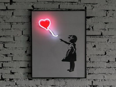 Love Heart Balloon Real Neon Light Wall Decoration Painting Frame Poster Artwork