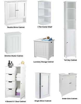 New White Wooden Bathroom Cabinet Shelf Furniture Cupboard Bedroom