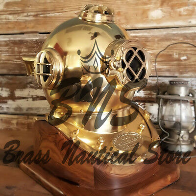 Vintage Brass US Navy Copper Solid Divers Scuba Sea Diving Helmet Antique W Base