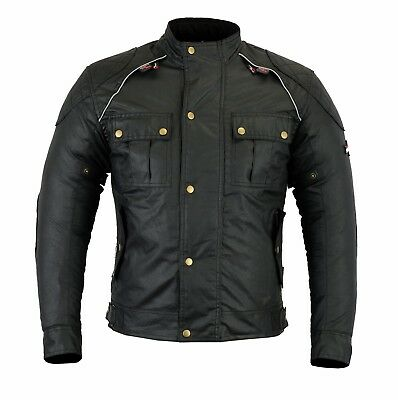 Classic Wax Cotton Textile winter Motorcycle Jackets waterproof CE Armour