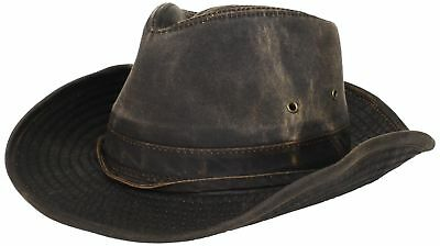 Dorfman-Pacific Weathered Cotton Outback Hat With Chin Cord Brown Medium 4cd41ba71131