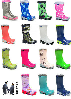 Kids Boys Girls Wellington Boots Rainy Snow Wellies Fluo -Silver ions Ag+