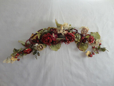 4 Your Home Interiors  34'' Red Roses & Berry Tipped in Gold  '' Swag/ Accents