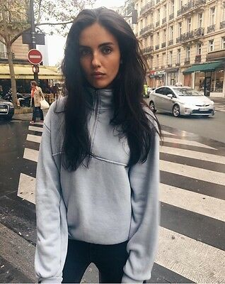 BRANDY MELVILLE SOFT pastel Blue collared Isabella sweatshirt NWT S ... 972a1fa81