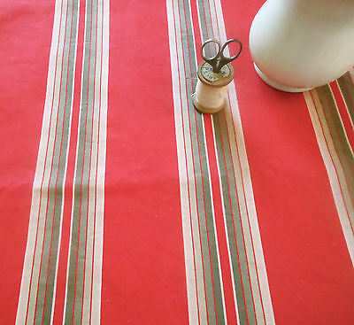 Antique  French Farmhouse Ticking Fabric ~ Red Olive Gray ~ Pillows Runner 1930