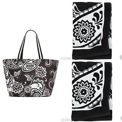 Vera Bradley Black White Family Lot Large Tote + 2 Beach Towels Travel NEW Gift