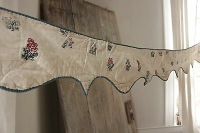 Antique French c 1750 embroidered valance 18th century textile Cambrisene