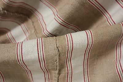 LINEN antique ticking French fabric striped material 19th century c1870 GORGEOUS