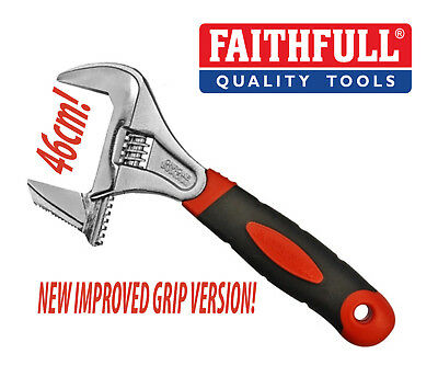 "FAITHFULL 8"" 200mm Adjustable 46mm Reversible Wrench Pipe Spanner FAIAS200W46"
