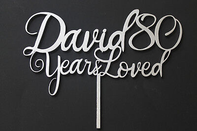 Years Loved Birthday Cake Topper - Name Age, Birthday Party 18th, 21st, 30th, 90