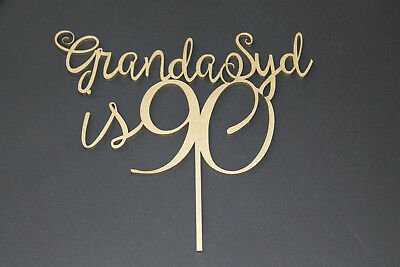 Grandad is Age Cake Topper Birthday Party - Solid Wood Luxury
