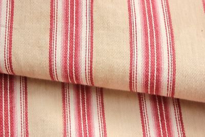 Antique French PRIMITIVE ticking Baby's / Child's mattress cover c1850 pink RARE