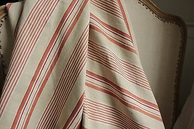 Antique French ticking distressed fabric timeworn material Terracotta stripe