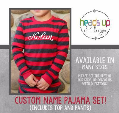Christmas Pajamas Custom Name Personalized Kids Toddler Baby Boy or Girl Trendy