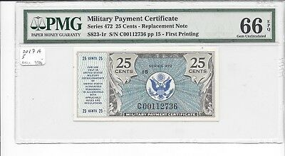 MPC Series 472  25 Cents REPLACEMENT  PMG 66EPQ GEM UNC  RARE
