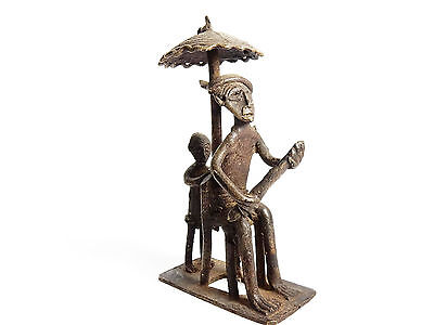 Rare African Antique Cast Bronze Ashanti Gold Weight - tribal chief with servant