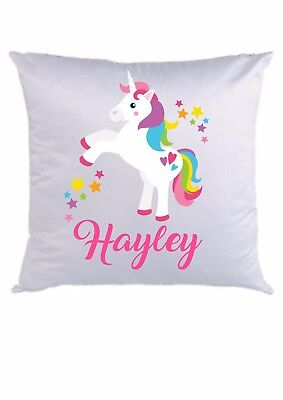 PERSONALISED CUSHION COVER  * ANY NAME ADDED * 16 x 16  * rainbow face