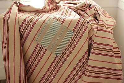 Antique French ticking fabric heavy weight upholstery PRIMITIVE patched timeworn