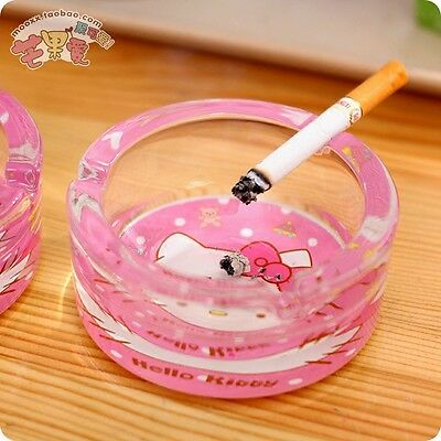 Pink Hello Kitty Woman Round Glass Cigarette Ashtray Ash Container Tobacco Tray