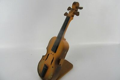 """Vintage Wooden Violin Music Box With Stand 12"""" Tall WORKS"""