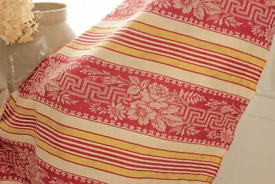 Antique French ticking fabric heavy weight upholstery cotton c 1880 Red yellow