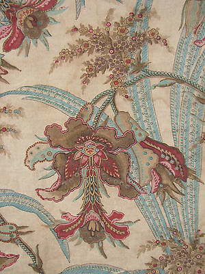 Antique French Block printed curtain panel drape c1850 w/ ruffle Indienne design