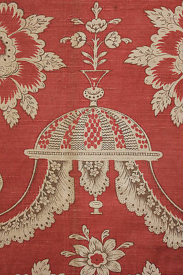 Antique French PRINTED LINEN drape curtain 18th century design ~ block printed