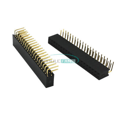 20PCS 2.54mm Pitch 2X20 40Pin Double Row Female Right Angle Header Socket Strip