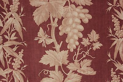 Antique French 1870 printed cotton madder brown LARGE bed curtain passementerie
