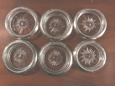 Vintage 1950's Silverplate Rimmed Glass Coasters by Leonard Made in Italy *LOOK*