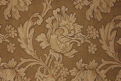 Antique French Art Nouveau woven damask fabric panel large scale