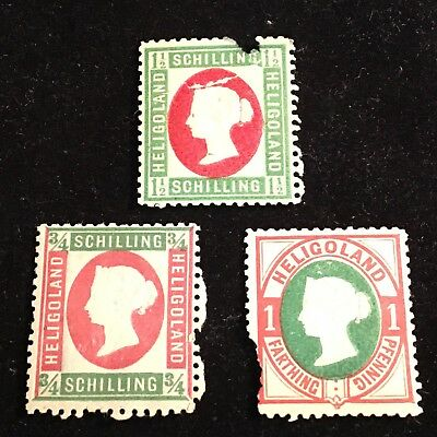1867-1879 Heligoland Postage Stamp Lot of 3 Unused Scarce!?!?