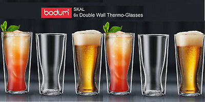 6x BODUM Skal Double Wall Thermo Glasses 350ml |Coffee|Tea |Beer glass