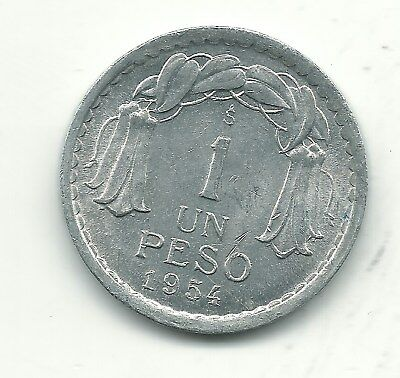 A Very Nice High Grade Au 1954 S Chile 1 Peso Coin-Oct453