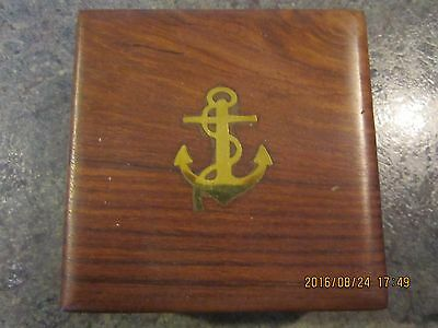 """Vintage nautical brass Captains desk 3"""" compass in 4""""x4""""x1 5/8"""" rose Wood box"""