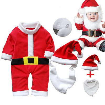 Baby Kids Santa Claus Romper Clothes Christmas Dress Outfit Costume Suit 6-18M