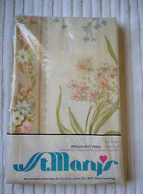 2 Vintage St. Mary's Standard Pillow Cases No Iron Percale Floral Design NOS