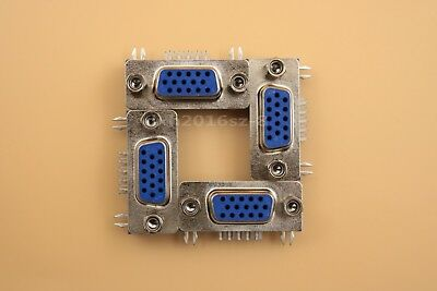 10Pcs 3 Row Blue DB15 VGA Female Right Angle Plastic D-SUB PCB Solder Connector
