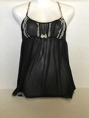 NWOT Victoria's Secret Black Intimate Lingerie Spaghetti Strap Top size Medium