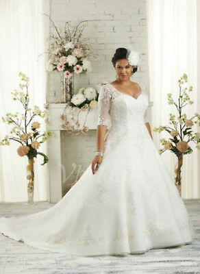 Plus Size White/Ivory Bridal Gown Half Sleeve Wedding Dress Stock Size:14---26
