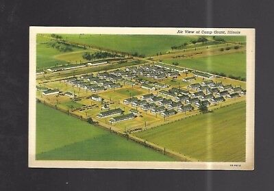 Vintage Postcard Air View Of Camp Grant Illinois