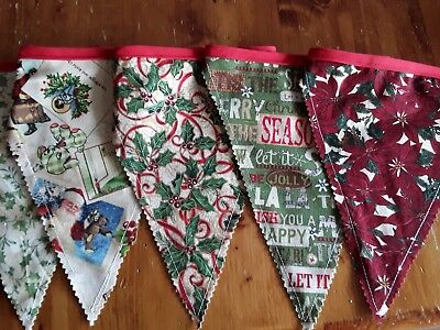 Handmade christmas decorations - Vintage  Bunting Flags